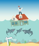 Home being foreclosed by the bank. Bank Sharks are salivating as another home is being plunged underwater and foreclosed upon Royalty Free Stock Photography