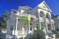 Home in Biloxi, MS with Mardi Gras decorations Stock Photography