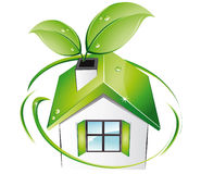 Home - Bio. Vector illustration shows an ecological house Royalty Free Stock Images
