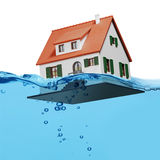 Home on blue water splash isolated Royalty Free Stock Photo