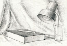 Home, book, lamp, drapery. Hand drawing - intellectual - picture with still theme, book and lamp Stock Photography
