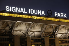Home of Borussia Dortmund. Dortmund, Germany - October 3, 2013: Signal Iduna Park (also known as Westfalenstadion), home ground of German football team Borussia Royalty Free Stock Images