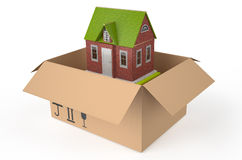 Home in box. Isolated on white background Royalty Free Stock Photo