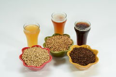 Home brew ingredients of grain and hops. Home brew beer ingredients with varying colors of malted barley grain to illustrate different grains in beer recipes Stock Photos