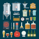 Home brewing factory production items. Vector. Home brewing factory production items. All you need for brew home made craft beer. Elements for home brewery Royalty Free Stock Images