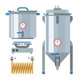 Home brewing factory production items. Vector. Stock Photo