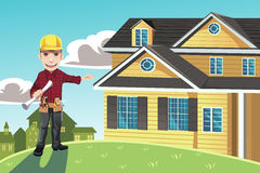Home builder. A vector illustration of a home builder posing in front of a house royalty free illustration