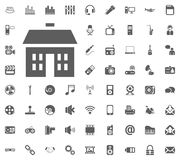 Home, Building, Apartment icon. Media, Music and Communication vector illustration icon set. Set of universal icons. Set of 64 ico. Ns Royalty Free Stock Photo