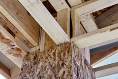 Home Building Construction Carpentry corner post roof framing cl Royalty Free Stock Images