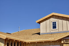 Home building construction carpentry dormer roof framing transit Stock Photography