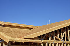 Home building construction carpentry gable roof framing transiti Stock Images