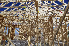 Home building framing construction industry jobsite details Royalty Free Stock Photo