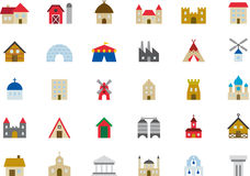 Home and building icon set Stock Photography