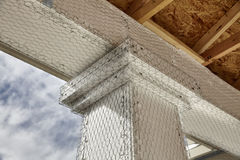 Home building industry house beam to column stucco mesh detail Stock Photography