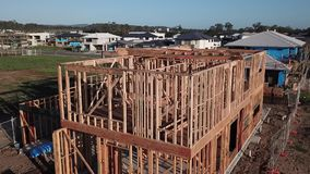 Home Building tips and videos - house frame. Modern Australian Home Building tips and videos - house frame stock video footage
