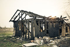 Home burned insurance. Insurance Home burned after the fire houses royalty free stock images