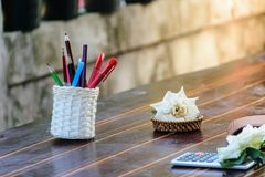 Home business working. Pencil phone put on table Stock Photography