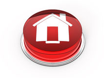 Home button. Red glass home button - 3d render Stock Photography