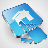 Home button with blue hand cursor Stock Photography
