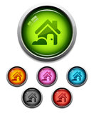 Home button icon. Glossy home button icon set in 6 colors Stock Photo
