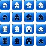 Home buttons. Collection of blue square home rollover buttons Stock Photo