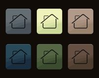 Home buttons Icons. Set of buttons with a picture of a house Stock Image