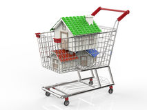 Home buyer concept. With mock up house in shopping cart vector illustration