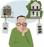 Home buyer's choice. Upset men choosing between an affordable house in a bad shape and a nice, but expensive, house, vector illustration Stock Photography