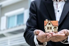 Home buying and selling agents stock photo