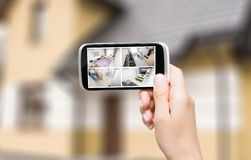 Home camera cctv monitoring system alarm smart house video. Home camera cctv monitoring monitor system alarm smart house video phone view concept - stock image stock images
