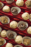 Home candy chocolates. Homemade chocolate candy truffels a sweet holiday treat stock photography