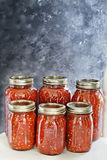Home Canned Jars Of Homemade Salsa Stock Photo