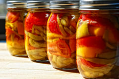 Home Canned Jars of Peppers Royalty Free Stock Images