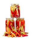 Home Canned Jars of Peppers on white background Royalty Free Stock Photography
