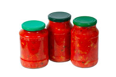 Home canned vegetables in jars Royalty Free Stock Image