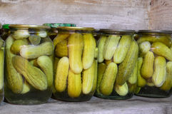 Home canning. Pickles in jars.Cucumbers. Stock Photo
