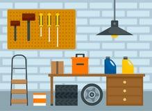 Home car garage background, flat style. Home car garage background. Flat illustration of home car garage vector background for web design stock illustration