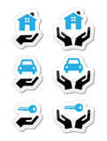 Home, car, keys with hands icons set Royalty Free Stock Photos