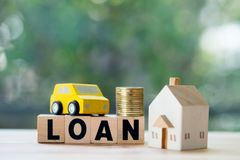 Home and car mortgage loan rate. Saving money for retirement concept. Real estate or property investment stock image