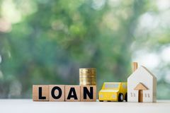 Home and car mortgage loan rate. Saving money for retirement concept. Real estate or property investment stock photo