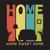 Home card with apartment icons, t-shirt graphics Royalty Free Stock Photos