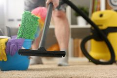 Home care for carpet vacuum cleane stock photos