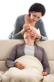 Home care eyedrops medical intervention Royalty Free Stock Photo