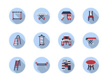 Home care flat round icons Stock Photo