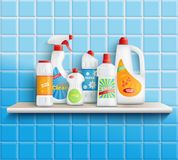 Home Care Goods Composition. Composition of realistic detergent bottles on shelf with bathroom toilet and mirror cleaners with wall tiles vector illustration Royalty Free Stock Photos