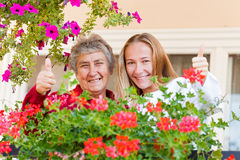 Home care. Thumbs up because everything is all right stock photo