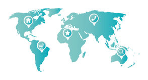 Home cart phone favorite magnifying glass icon on a world map Stock Image