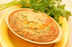 Home casserole with cheese and herbs Stock Photos