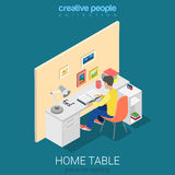 Home casual modern workplace book flat vector isometric interior. Home casual modern workplace flat 3d isometry isometric concept web infographics vector Royalty Free Stock Images