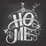 Home chalkboard sign hand-lettering. Home chalkboard sign. Hand-lettering on blackboard background with chalk. Decorative typography royalty free illustration